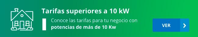 Catálogo tarifas luz con potencias superiores a 10 kW