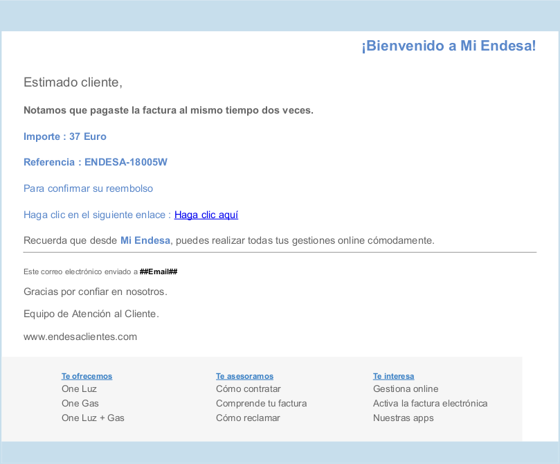 4558ba72229e Phishing with fake reimbursement notices from Endesa | ENDESA CUSTOMERS