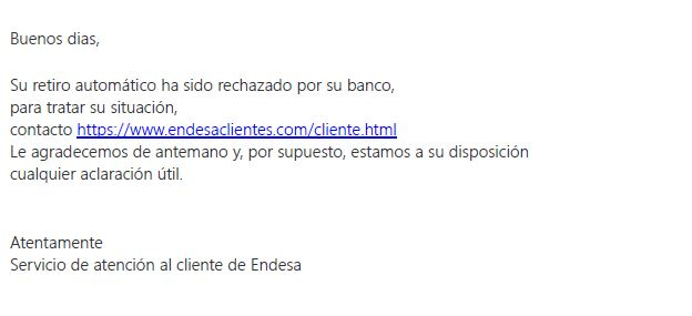 Screenshots of the cases of phishing using the name of Endesa that have occurred