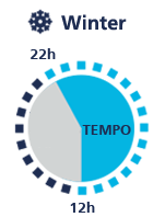 Clock of winter time periods with Tempo Siempre Ganas.