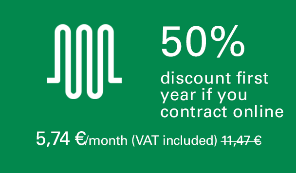 50% discount first year if you contract online. 5,67 €/month (VAT included). 11,34 €/month second year