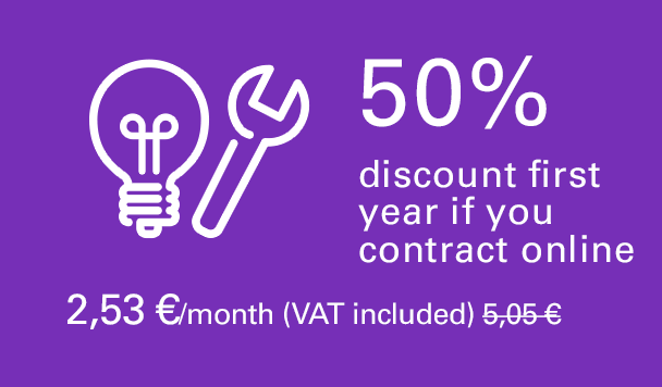 50% discount first year if you contract online. 2,49 €/month (VAT included). 4,98 €/month second year