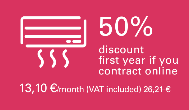 50% discount first year if you contract online. 12,95 €/month (VAT included). 25,89 €/month second year