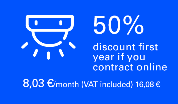 50% discount first year if you contract online. 7,94 €/month (VAT included). 15,89 €/month second year